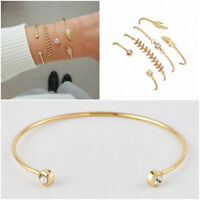 Fashion Women Gold Plated 4Pcs/Set Open Cuff Bangle Crystal Bracelet Jewelry New