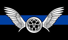 """Thin Blue Line Motorcycle Wings 3"""" x 5"""" Exterior REFLECTIVE window Decal"""