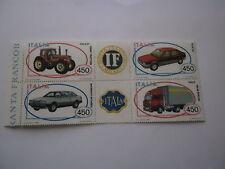REPUBBLICA 1984 AUTO (I) BLOCCO NUOVO CON APPENDICE 4 FRANCOBOLLLI DA 450 LIRE T