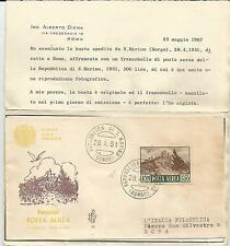 Busta Fdc Venetia San Marino Posta Aerea L.500 1951. Varietà
