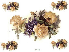 VinTaGe IMaGe XL ChiC YeLLoW RoSeS & VioLeTs SHaBbY DeCALs ~FurNiTuRe SizE~