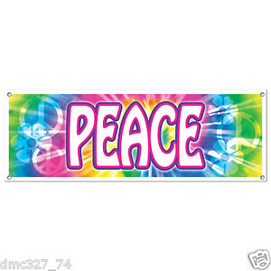 """Groovy Retro 60s Party Decoration HIPPIE Tie Dye PEACE SIGN BANNER 60"""" x 21"""""""