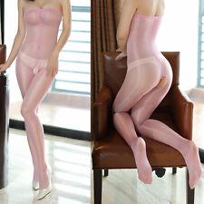 Body Bodystockings offen Pantyhose Rosa Pink transparent unisex glänzend