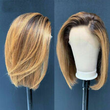 Luxury Lace Front Remy Bob Ombre Full Lace Human Hair Wig Ash Blonde Balayage