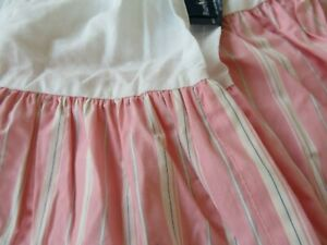RALPH LAUREN TWIN BED SKIRT DUST RUFFLE  PINK STRIPES GREAT CONDITION