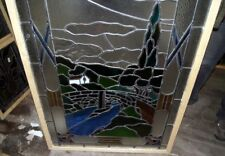 FANTASTIC LEADED GLASS SCENIC WINDOW