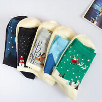 Comfortable Christmas Snowflake Deer Design Women's Winter Cotton Socks Gift