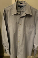 Tommy Hilfiger Mens Blue &White Checked Long Sleeved Regular Fit Shirt Size L 16