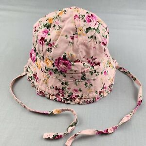 Girls size 000, Toshi, pink floral cotton hat / beanie, EUC
