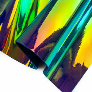 Hologram Leather (size) Sheet / Metallic Mirror Leather /Green And Red Holo Shad
