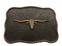 WESTERN TEXAS LONGHORN STEER BULL TROPHY FOR LEATHER COWBOY COPPER BELT BUCKLE