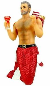 Santa Daddy Merman Christmas Holiday Ornament 6.75 Inches