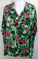 KS Island 8XL Big Hawaiian Short Sleeve button Shirt Tropical Floral Black