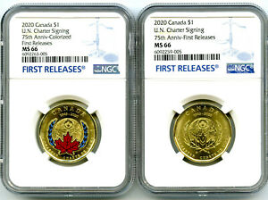 2020 $1 CANADA NGC MS66 UN CHARTER LOON LOONIE DOLLAR MATCHED 2-COIN SET - FR