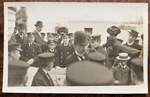 ANTIQUE RPPC ROYAL NAVY CADETS FROM OSBOURNE COLLEGE ON FERRY & CHAPLAIN 1911