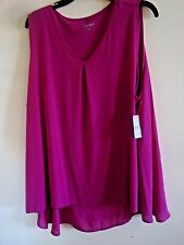 Ladies  Plus Emma Pleat Chiffon Tank Top Magnetic Purple  Size 1X  New