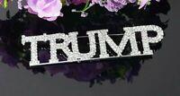 """4 Inches! Exquisite """"TRUMP"""" Pin, Sparkling Rhinestones, Ultimate Trump Bling!"""