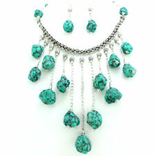 Necklace earrings natural Tibetan turquoise gemstone beaded handmade 135 grams