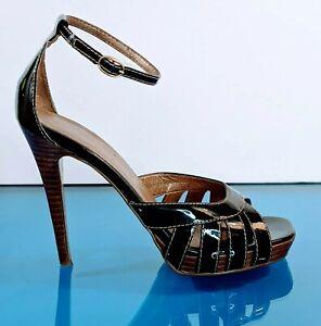 COLIN STUART Womens 8M Black Patent Leather Platform Heels Pumps Strappy Shoes