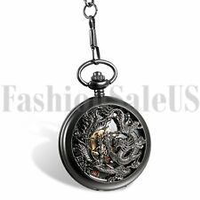 New Black Antique Mechanical Skeleton Steampunk Men Pocket Watch Chain XMAS Gift
