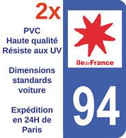 Sticker Autocollant immatriculation Adhésif Département 94 Val de Marne IDF X2
