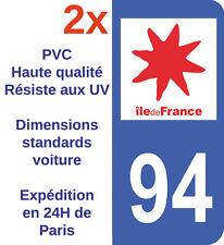 2X Autocollant neuf pour plaque d'immatriculation Département 94 Val de Marne