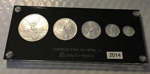 2014 Mexico Libertad BU 5 Coin Set 1, 1/2, 1/4, 1/10 & 1/20 Gem In Custom Holder