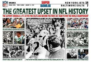 JETS BEAT COLTS IN GREATEST UPSET IN NFL HISTORY 19x13 COMMEMORATIVE POSTER