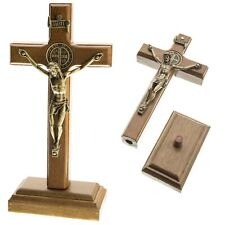 "5.5"" 14cm Wood Standing Table Wall Cross Crucifix Home Altar Shrine Catholic"