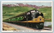 Postcard Train Diesel Streamlined North Coast Limited Northern Pacific P12