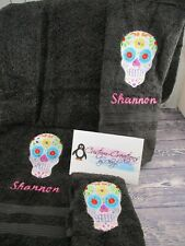Sugar Skull Personalized 3 Piece Bath Towel Set  Any Color