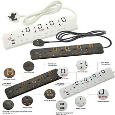4 Way Gang Extension Lead Socket Dual 2x USB Charge Port Surge Protected 2m Lead