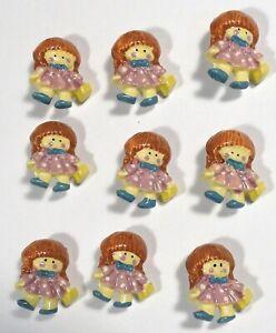 "Vtg JHB International Realistic Novelty Plastic Resin BUTTONS Redhead Girl 7/8"""