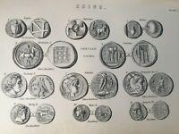 ANTIQUE PRINT C1870'S COINS ENGRAVING GRECIAN COINS ATHENS ALEXANDER I CROTONA