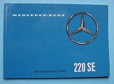 Mercedes W111 220 SE  Betriebsanleitung  Bedienungsanleitung 1959