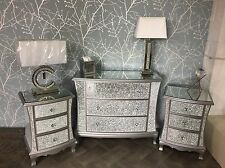 Bedroom SET Sparkly Mosaic Crackle Glass 2 x Bedside, 1 x Chest of 3 Drawers