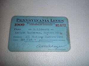 VINTAGE 1909 PENNSYLVANIA LINES RAILROAD TICKET PASS