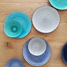 Craquele Teller Set Keramik Ø 17 + 27 cm / Schale, organische Form, Service