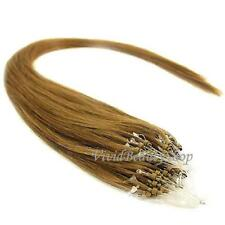 100 Micro Loop Ring Beads I Tip Indian Remy Human Hair Extensions Light Brown #6