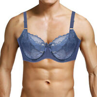 Plus Size for Men Bra Full Cup Bras Sexy Lingerie Lace Sheer Brassiere Bralette