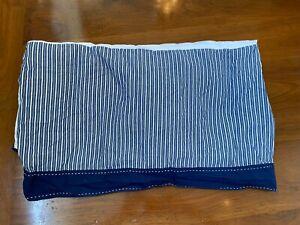 Pottery Barn Kids Crib Bed Skirt Nautical Backseat Navy white stripe navy trim