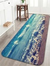 Ocean Beach Waves Bath Mats and Rugs Flannel Fabric Non Slip Rubber Backing B.
