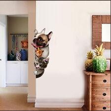 Animal Wall Stickers Cat Dog Door Room Porch Bedroom Wall 3D Decals Wallpaper