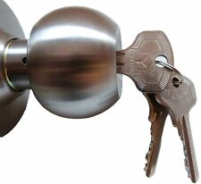 Entrance Lock Door Latch Knobs Handles Brushed Stainless Steel +3 Keys Modern UK