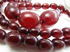 Antique Art Deco Cherry Red Amber Bakelite Graduating Necklace 72 grams tested