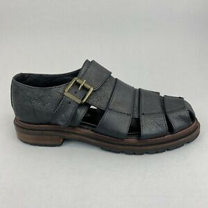H by Hudson Black Leather Slip On Buckle Gladiator Summer Holiday Sandals 39 UK6