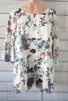 Beme Top Tunic Kaftan Smock Plus Size 16 White Pink Red Floral