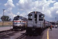 AMTRAK Railroad Locomotive 488 Train RENSSELAER NY Original 1983 Photo Slide