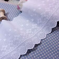 """Broderie Anglaise Cotton Eyelet Lace Trim Floral 12cm(4.7"""") White 1yd"""