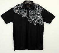 LoudMouth Mens L Golf Shirt Skulls Paisley Polo Rugby Black